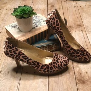 Shoes - Satin leopard print heels